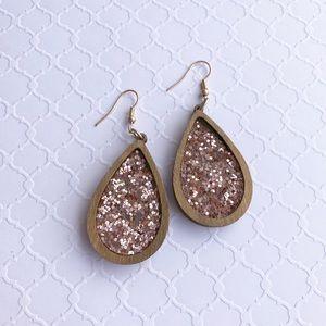 Rose gold wood earrings